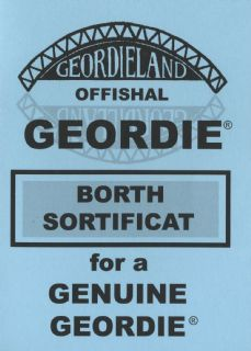 Geordieland Offishal Borth Sortificat - Blue